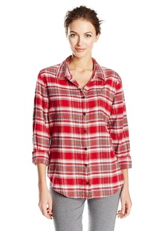 PJ Salvage Women's Mountains are Calling Plaid Shirt  L