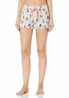 PJ Salvage Women's Pajama Shorts Ivory Dog Print