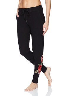 PJ Salvage Women's Rock N' Rose Embroidered Jogger Pant  L