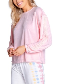 Women's Pj Salvage Sunset Crochet Inset French Terry Top
