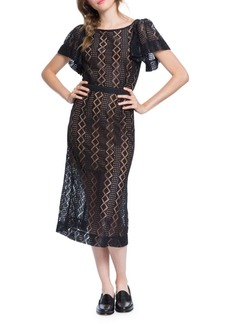 Plenty by Tracy Reese Flounce-Sleeve Lace Midi Dress