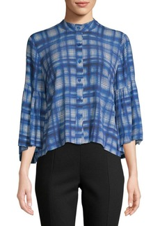 Plenty by Tracy Reese Plaid Bell-Sleeve Button-Down Shirt
