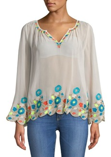 Plenty by Tracy Reese Border Embroidered Peasant Top