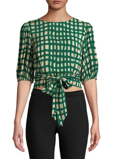 Plenty by Tracy Reese Checkered Wrap Blouse