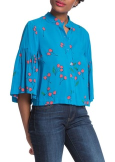 Plenty by Tracy Reese Cherry Printed Flounce Sleeve Shirt