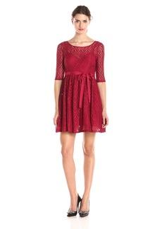 Plenty by Tracy Reese Dresses Women's Estella Short Sleeve Diamond Lace Dress