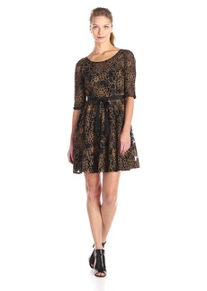 Plenty by Tracy Reese Dresses Women's Estella Short Sleeve Lace with Mettalic Embroidered Fit and Flare Dress
