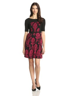 Plenty by Tracy Reese Dresses Women's Eve Short Sleeve Fit Flare Brocade Dress