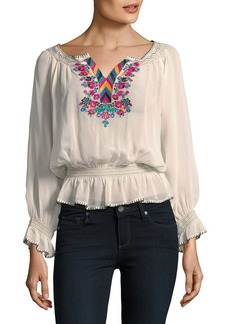 Plenty by Tracy Reese Embroidered Peasant Top