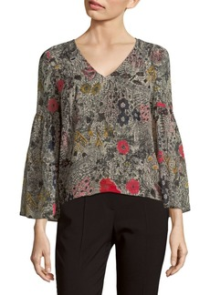 Plenty by Tracy Reese Floral Flounce-Sleeve Top