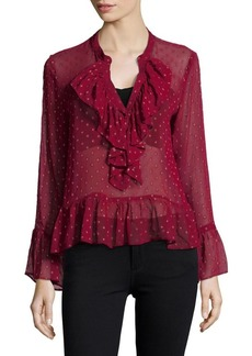 Plenty by Tracy Reese Ruffle Semi-Sheer Bell Sleeve Blouse
