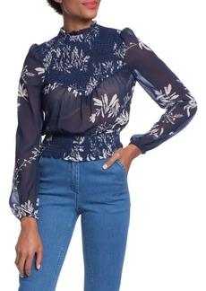Plenty by Tracy Reese Smocked Mockneck Top