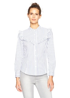 Plenty by Tracy Reese Women's RFL Shirt Blu/Wte STR M