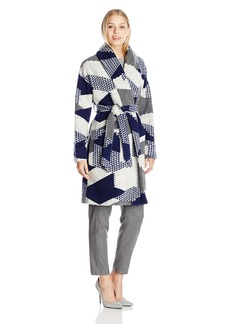 Plenty by Tracy Reese Women's Robe Coat Navy/ECRU