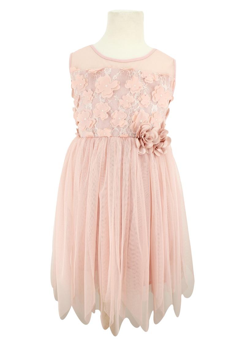 Popatu 3D Flower Tulle Dress (Toddler Girls, Little Girls & Big Girls)