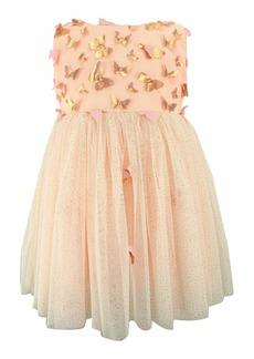 Popatu Butterfly Appliqué Tulle Dress (Toddler Girls, Little Girls & Big Girls)