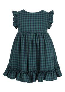 Popatu Check Flutter Sleeve Ruffle Dress (Baby)