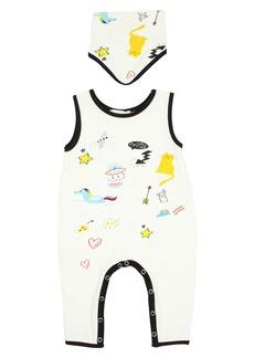 Popatu Doodle Romper & Bib Set (Baby Girls)