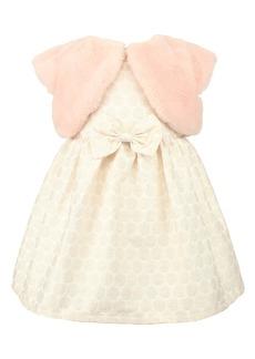 Popatu Dot Jacquard Party Dress & Faux Fur Shrug Set (Baby)