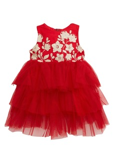Popatu Embroidered Floral Tiered Tulle Dress (Baby)