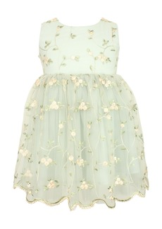 Popatu Floral Embroidered Fit & Flare Dress (Baby)