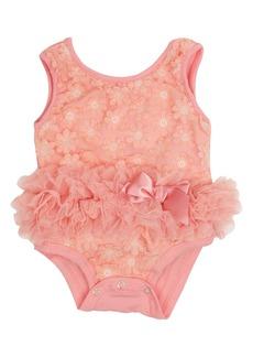 Popatu Flower Appliqué Tutu Bodysuit (Baby Girls)