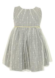 Popatu Kids' Check Dress with Sheer Overlay (Toddler, Little Girl & Big Girl)