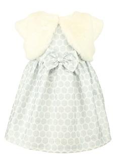 Popatu Kids' Dot Jacquard Party Dress & Faux Fur Shrug Set (Toddler, Little Girl & Big Girl)