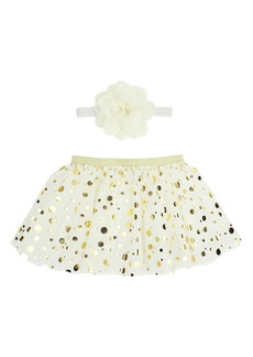 Popatu Metallic Dot Tulle Skirt & Floral Head Wrap (Baby Girls)