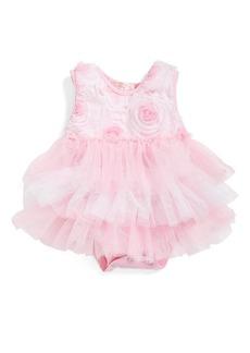 Popatu Ribbon Rosette Ruffle Tier Bodysuit (Baby Girls)