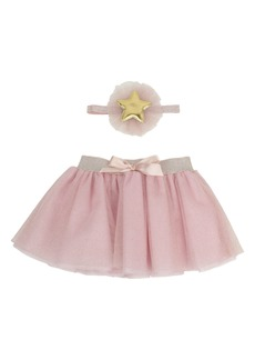Popatu Star Glitter Tulle Skirt & Head Wrap Set (Baby Girls)