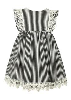Popatu Stripe Lace Trim Flutter Sleeve Dress (Baby)