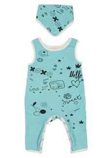 Popatu XOXO Doodle Romper & Bandana Bib Set (Baby)
