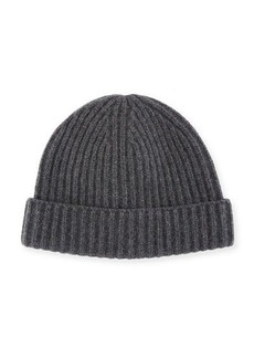 Portolano Men's Ribbed Cashmere Beanie Hat