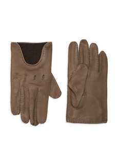 Portolano Partially Ribbed Leather Gloves