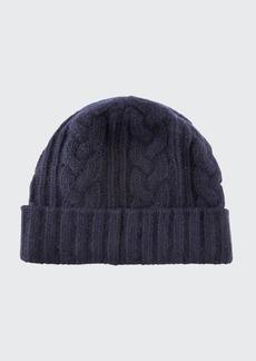 Portolano Men's Cable-Knit Cuffed Cashmere Beanie Hat