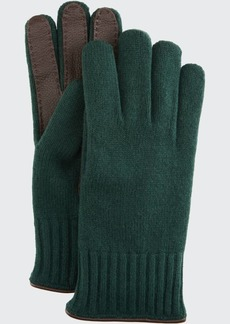 Portolano Men's Cashmere Jersey Gloves w/ Deerskin Palms