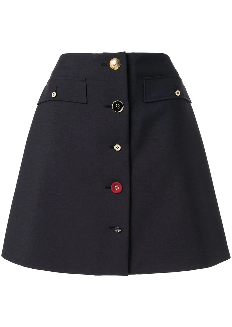 Ports 1961 buttoned a-line mini skirt