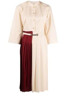 Ports 1961 colour-block pleated shirt dress