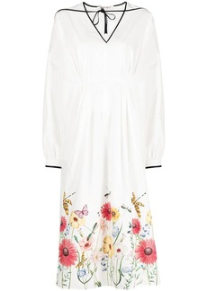 Ports 1961 floral print shirt dress with contrast cording