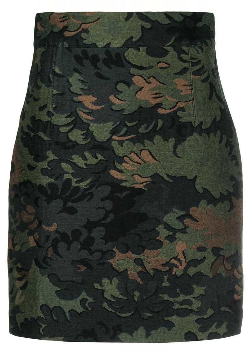 Ports 1961 leaf embroidered mini skirt