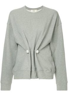Ports 1961 pearl embellished draped sweatshirt
