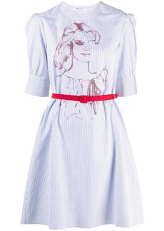 Ports 1961 pinstripe print belted dress