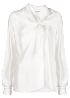 Ports 1961 satin shirt with neck-tie detail
