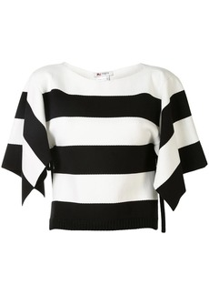 Ports 1961 split-sleeve striped cropped top