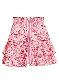 Poupette St Barth Camila Ruffled Floral Mini Skirt