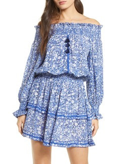 Poupette St Barth Sylvia Off the Shoulder Long Sleeve Cover-Up Dress