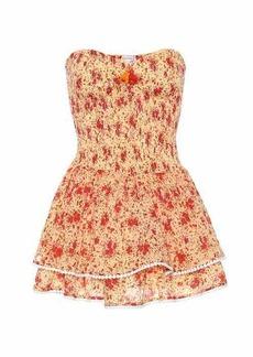 Poupette St Barth Triny strapless floral cotton minidress