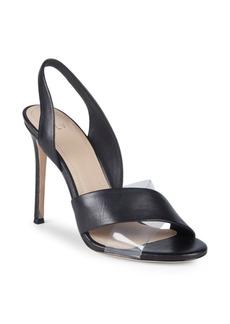 Pour La Victoire Elly Leather & PVC Slingback Sandals