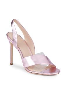 Pour La Victoire Elly Metallic Leather & PVC Slingback Sandals